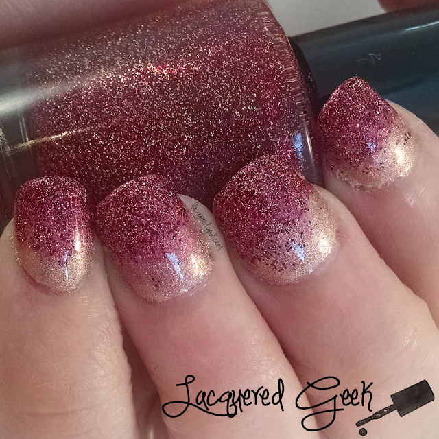 "Gradient using Cupcake Polish ""Too Haute To Handle"" and Digital Nails ""Geronimo"" nail polish"