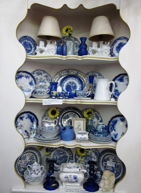 blue and white corner of the store