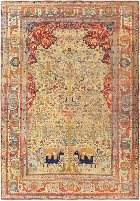 Antique Persian Mohtashem Kashan Carpet