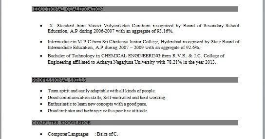 Chemical engineering fresher resume sample