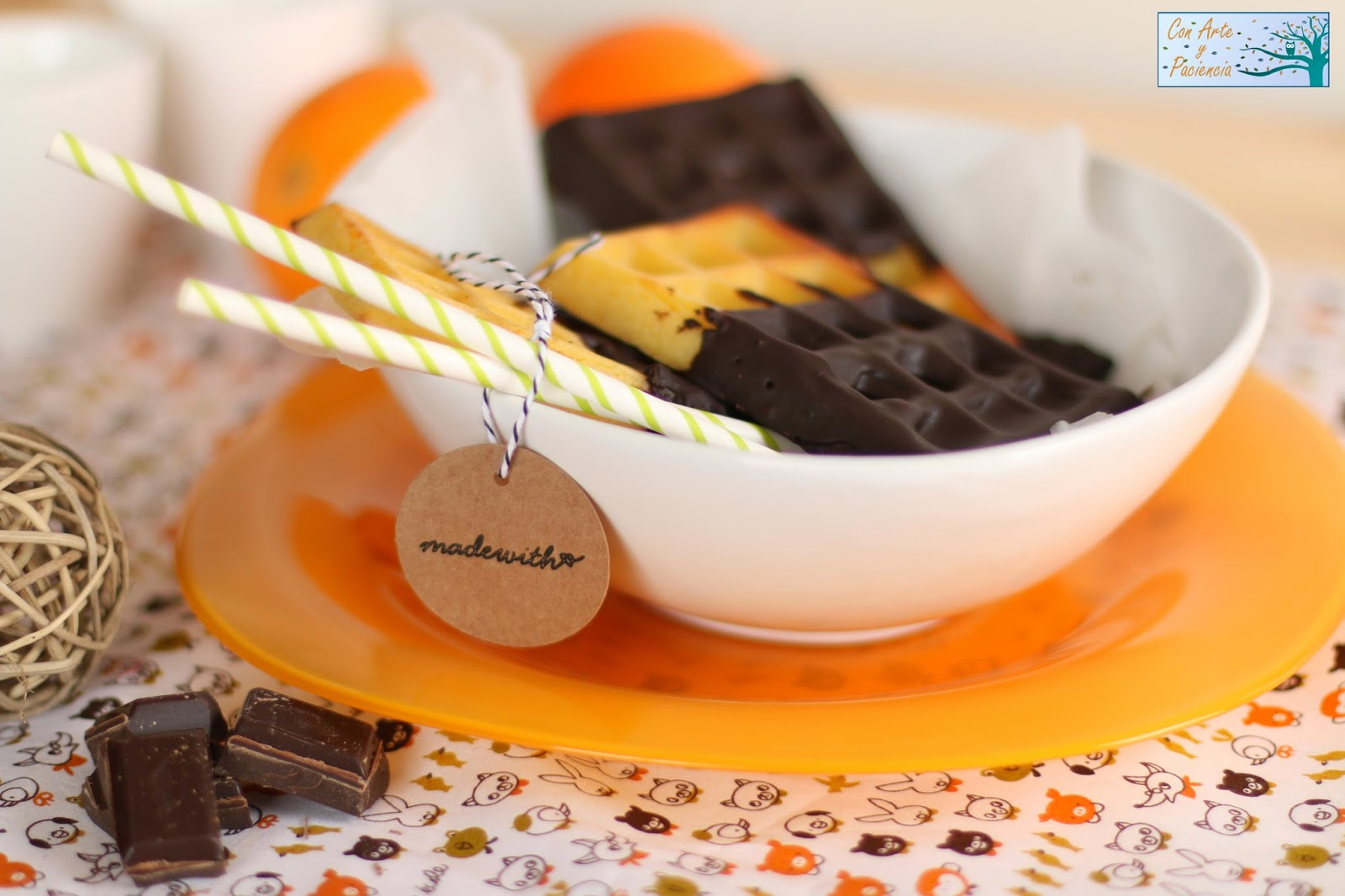 gofre,naranja,recubiertos,bañados,chocolate,waffle,orange,horno,lekué,originales,belga,fondant,fundido,baño,maria,merienda,receta,desayuno,dulce,postre,niños,