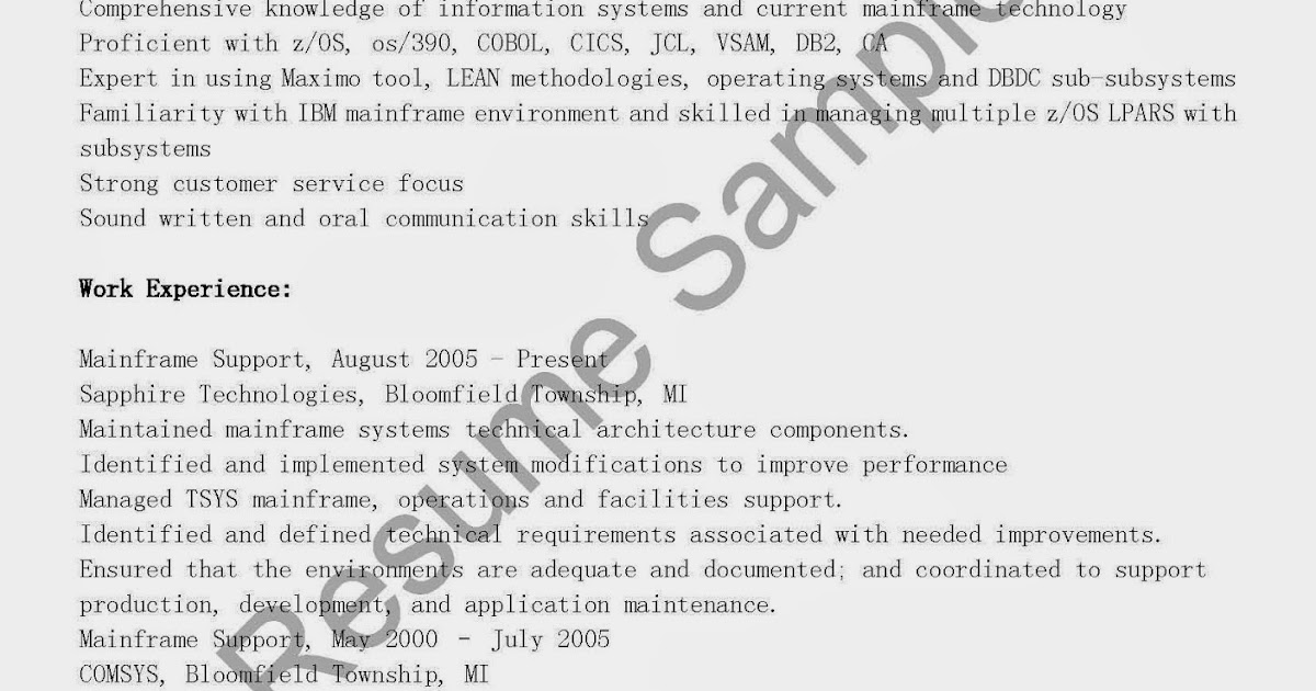 resume samples  mainframe support resume sample