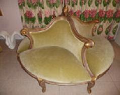 Borne divano circolare imbottito del XIX secolo