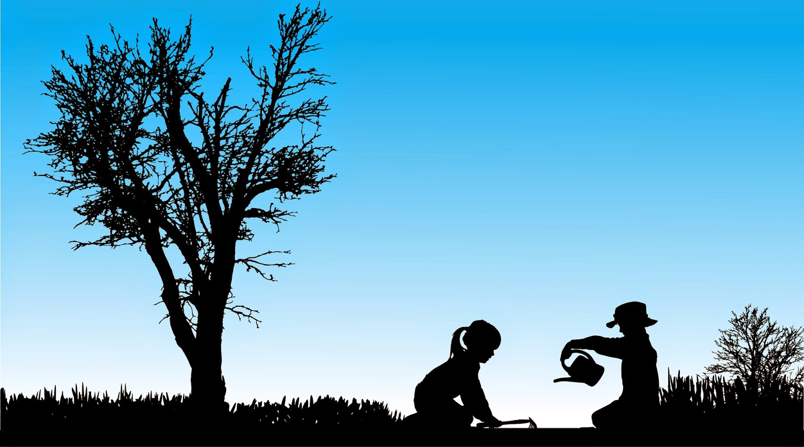 Silhouette picture of a girl and boy gardening next to a tree