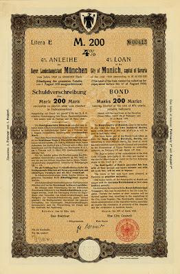 City of Munich, capital of Bavaria - 1920 bond