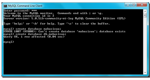 how to create database in mysql command line client