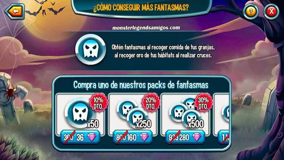 imagen de la oferta de monedas fantasmas de la isla halloween de monster legends