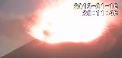 Volcán Strómboli en erupción, 16 de Enero 2013