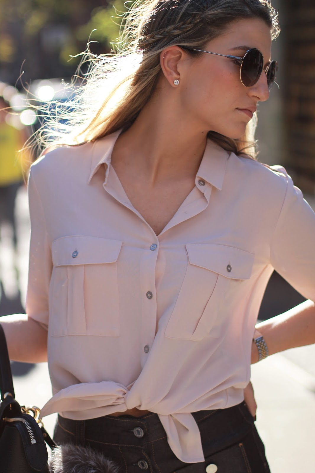 forever21 chiffon collar shirt, forever21 tie front top