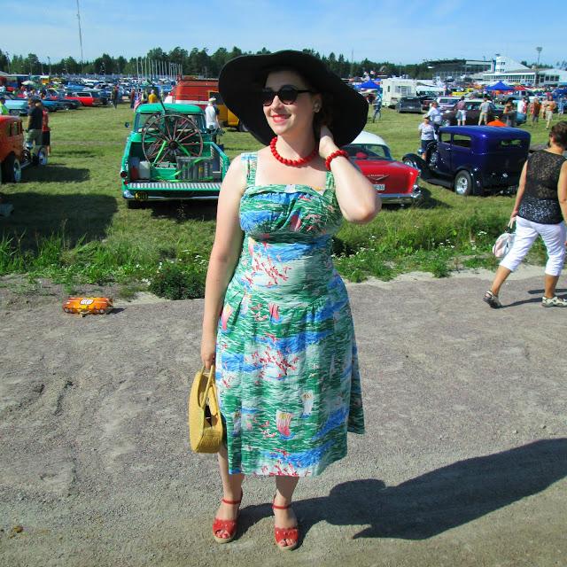 50's vintage dress tropical cotton sun pin parrot sea hat Forssan pick nick 2013