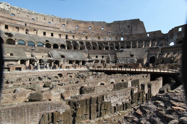 A close up view of hypogeum arena in the Roman Colosseum in Rome, Italy