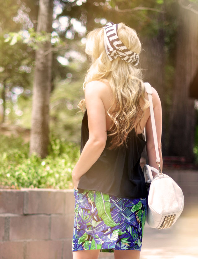 tropical print skirt, striped head scarf