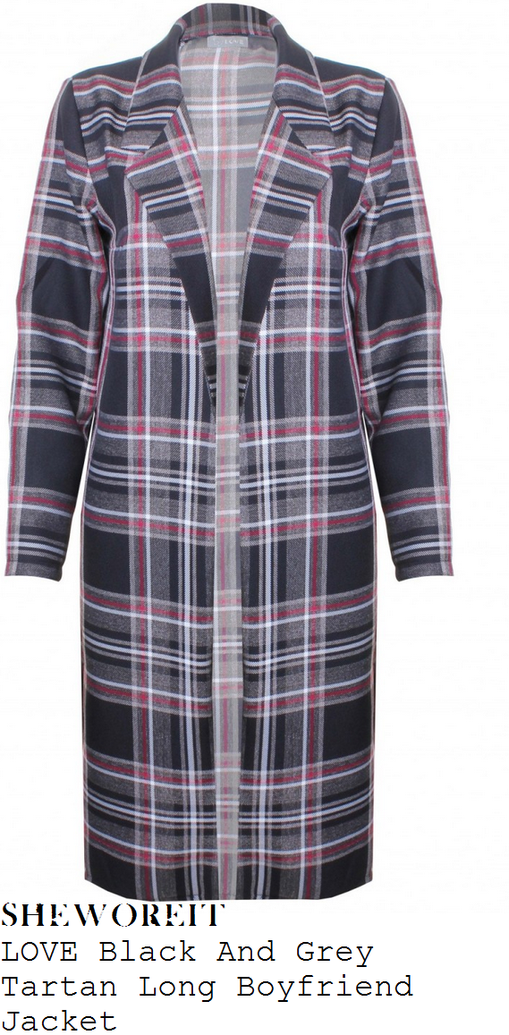 rochelle-humes-black-grey-white-and-red-tartan-check-tailored-long-open-front-coat-bbc-studios