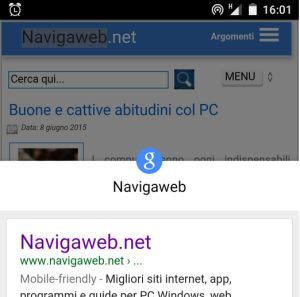 ricerca parole su Chrome android