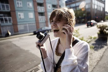szczęście, aparat, kobieta, zadowolenia, sens życia