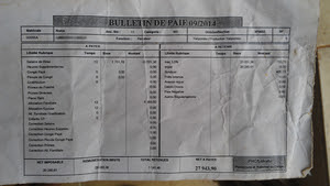 A payslip for a worker at the Lukutu plantation showing just 12 units were  completed in the month of September, 2014. (Photo: GRAIN)