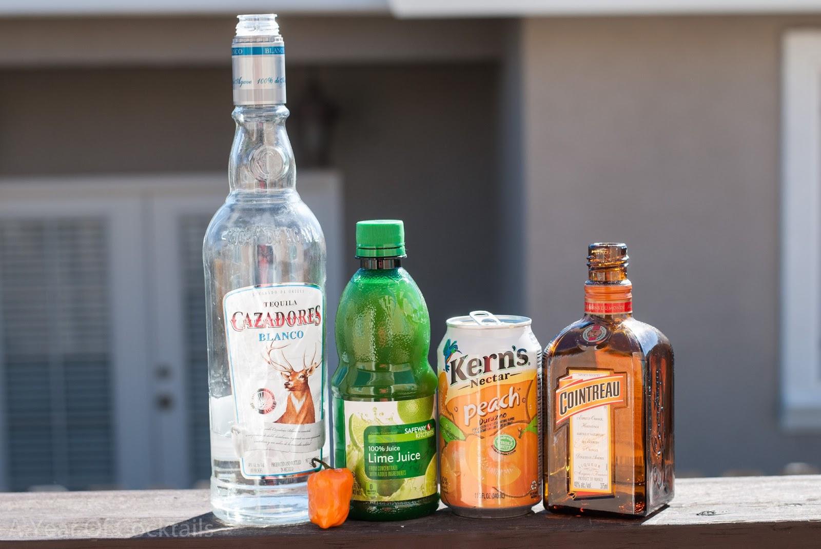 peach habanero margarita, peach nectar, silver tequila, habanero ...