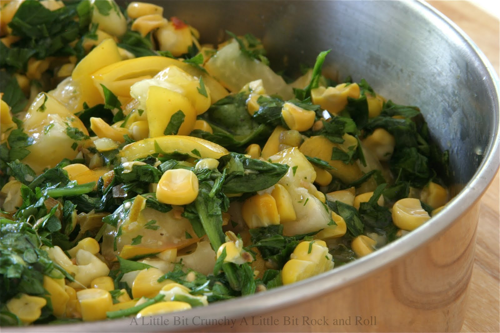 ... and Roll: Grilled Corn Pasta with Roasted Garlic, Tomatoes and Spinach