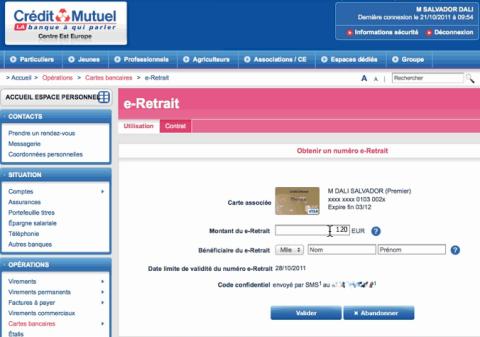 Ecran e-Retrait du Crédit Mutuel