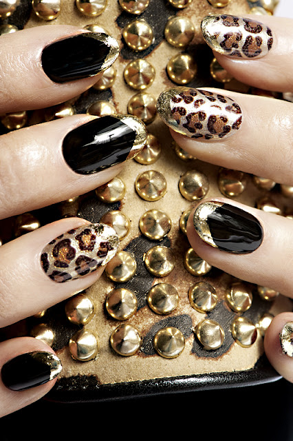 Metallic Leopard Print and Black Contrast Nail Art