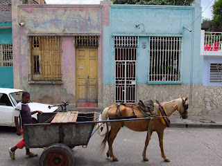 Santiago de Cuba horse and cart with boy