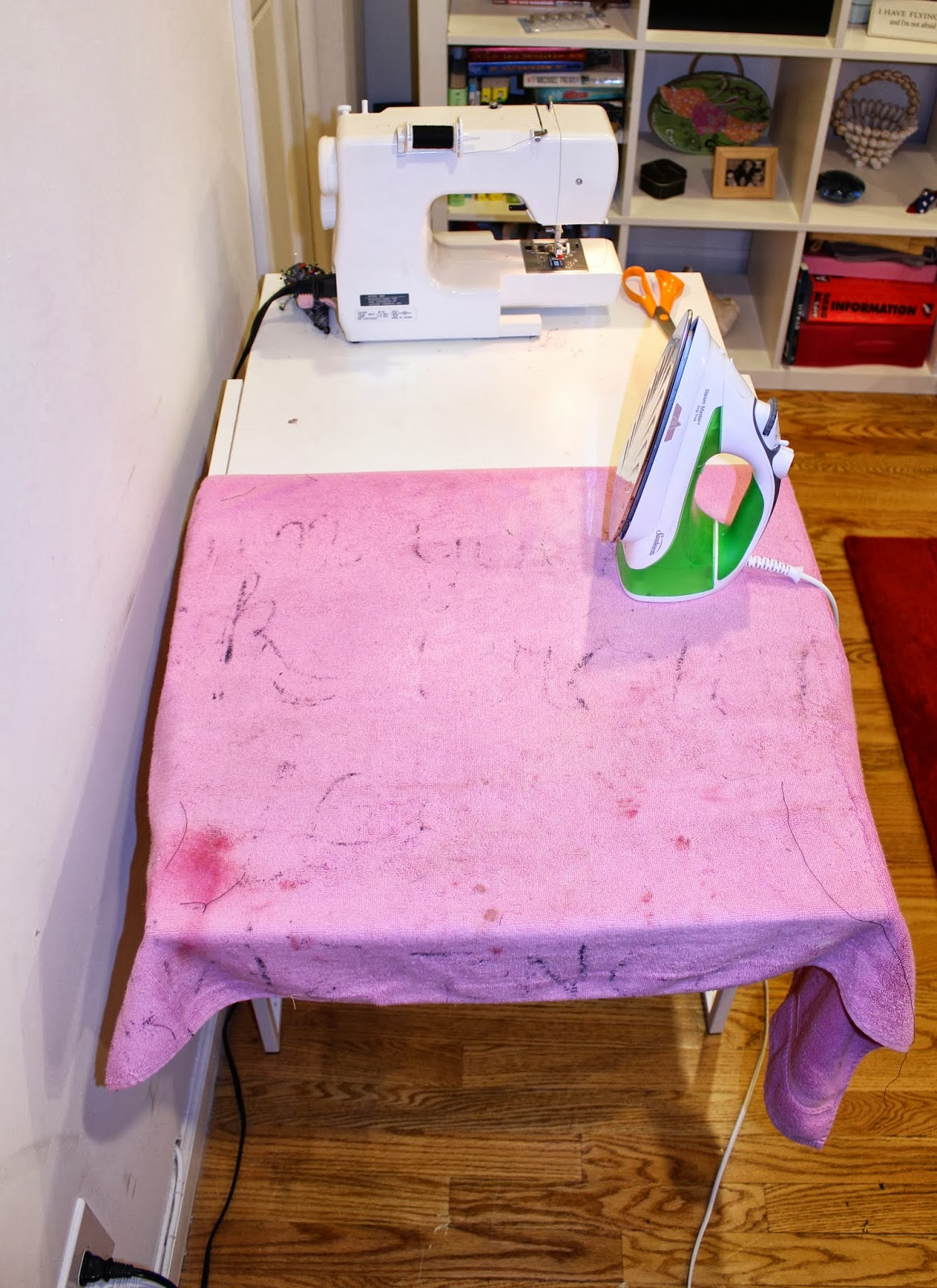I Use An Old Towel Over The Table As An Ironing Mat. Iu0027m Sure Itu0027s Not A  Great Idea And Sometimes The Towel Is Stuck To The Table And Leaves Chunks  Of ...
