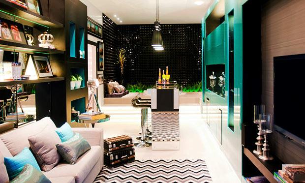 decoracao de sala azul turquesa e amarelo:Oficina de Arquitetura: Paredes pretas