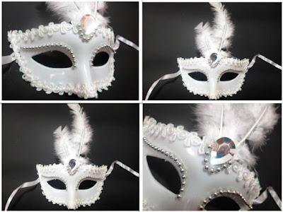 Máscara Veneziana de Noiva Gala e Luxo