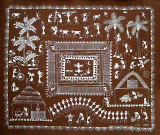 Indian Tribal Folk Art Warli Painting