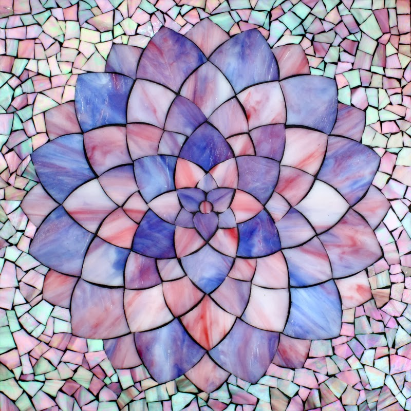 Kasia mosaics pink dahlia for Drawing mosaic pictures