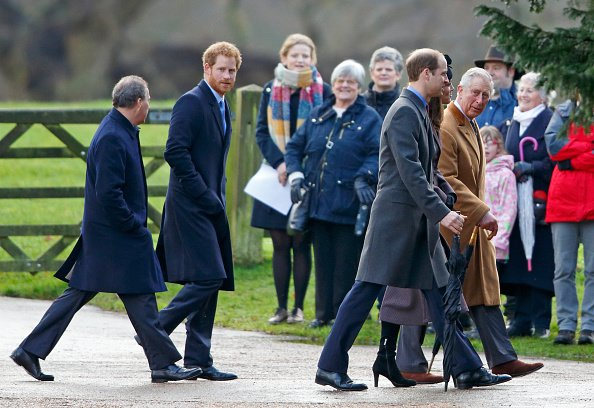 Queen Elizabeth II, Catherine, Duchess of Cambridge and Prince William, Duke of Cambridge, Prince Harry,  Sophie, Countess of Wessex and Lady Louise Windsor, James, Viscount Severn,  Zara Phillips and Mike Tindall,  Prince Philip, Duke of Edinburgh and Princess Anne, Prince of Wales, Princess Beatrice and Prince Andrew, Duke of York, Prince Charles