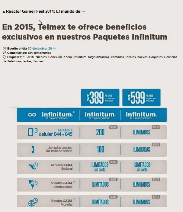 Nuevos beneficios paquetes infinitum 2015
