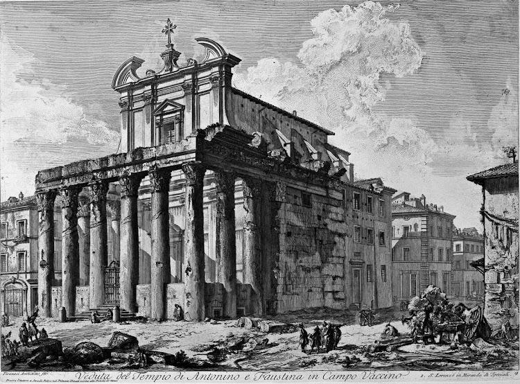 Giovanni Battista Piranesi - Veduta del Tempio di Antonino e Faustina in Campo Vaccino