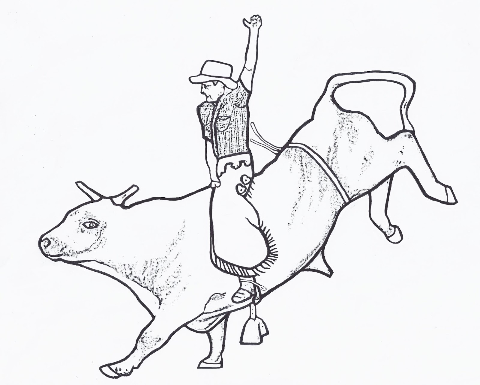 Rodeo coloring pages bull rider color page by dancing for Bucking bull coloring pages