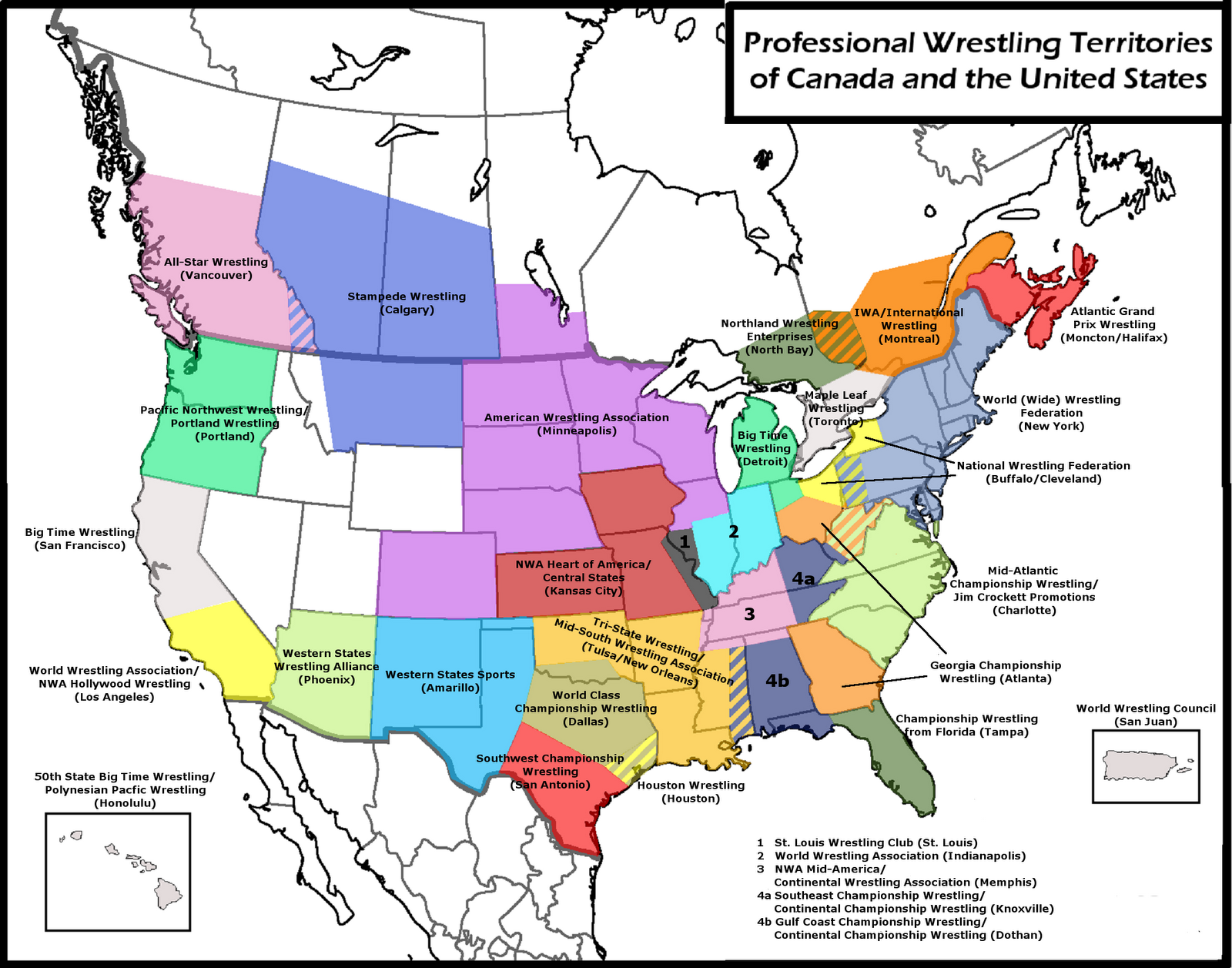 Pro wrestling territories (clickable) Quiz