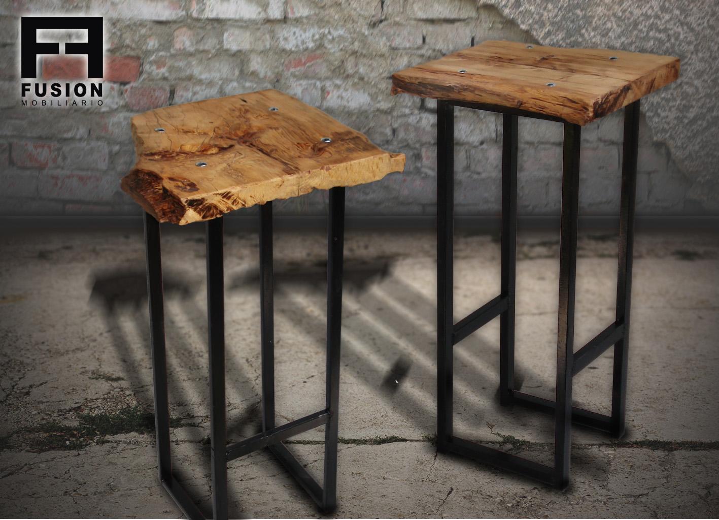 Banquetas de hierro y madera fusion mobiliario for Banquetas de madera