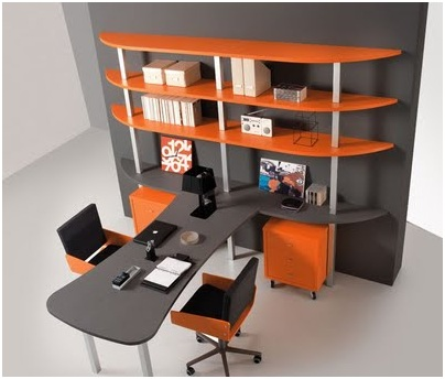 Juvenile desk. A beautiful office with two desks in orange and grey