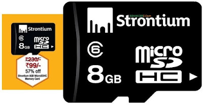 Buy Strontium 8GB MicroSDHC Memory Card (Class 6) at Rs.99