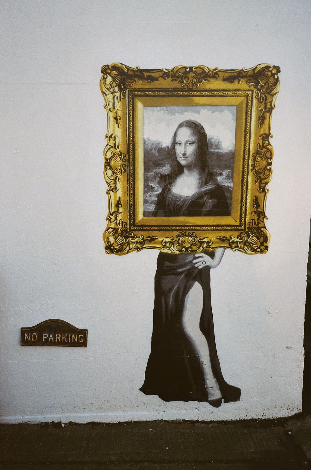 Mona Lisa, Leonardo Da Vinci, Whitstable, Kent, No Parking sign, Grafitti, 2015 General election,Visual Athletics Club