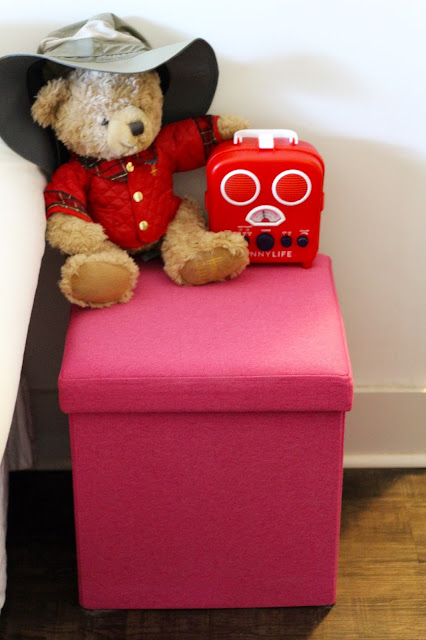 Pink Poppin Box Seat in the Living Room with Jasper the 2014 Harrods Christmas Bear, Fishing Hat, and Sunnylife Radio