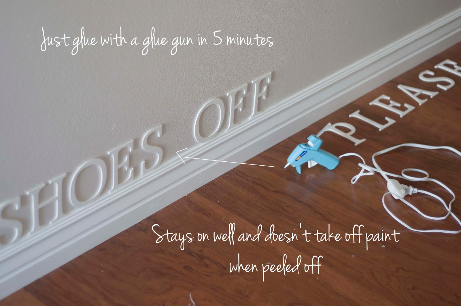 Shoes Off Please cutouts on floor, via A Few of My Favorite Things