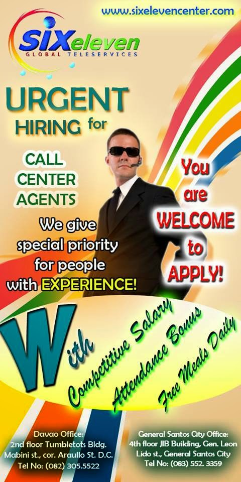 Davao Jobs Six Eleven Global Is In Need Of 150 Centerts