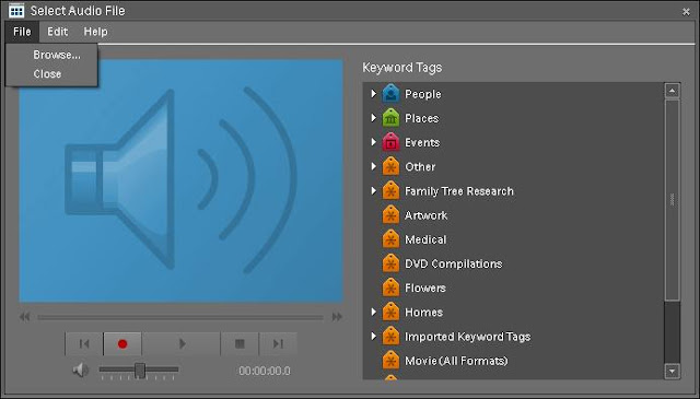 How to add music to a PHotograph in Adobe Elements Organizer? (Audio Caption in a Photograph) : Posted on ADOBE PHOTOSHOP ELEMENTS Blog : Today I was reading some posts on Adobe Forum and one of the Elements user was searching for way to add audio to a photograph. Initially I though of slideshow where audio can be added to multiple photographs while playing, but after some time I realized that its about Audio Captioning a Photograph in Elements Organizer. So here is a the procedure to add Audio-Caption or attaching audio to a photograph !!!1. Open your photograph in Elements Organizer2. Go to Single Image Viewer of Organizer, so that only one photograph is shown inside itToday I was reading some posts on Adobe Forum and one of the Elements user was searching for way to add audio to a photograph. Initially I though of slideshow where audio can be added to multiple photographs while playing, but after some time I realized that its about Audio Captioning a Photograph in Elements Organizer. So here is a the procedure to add Audio-Caption or attaching audio to a photograph !!!1. Open your photograph in Elements Organize2. Go to Single Image Viewer of Organizer, so that only one photograph is shown inside it.3. If you don't know about the way to go to Single Image View, locate the controls shown in above image and click on highlighted rectangle.4. On accessing photograph in Single Image View (SIV), a volume/sound/speaker icon is shown on right bottom of the organizer. Just below the photograph ! Please see first image to understand it better.5. Click on this volume/sound/speaker icon. Below shown dialog will be shown.6. Go to File Menu and Click Browse. 7. Select appropriate Music file and open.8. Click on close button of