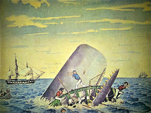 An unknown artist may be depicting the 1820 sperm whale attack on crewmen of the whaling ship Essex