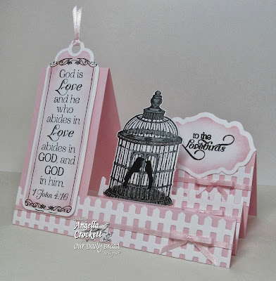 ODBD Love Scriptures, To The Lovebirds, ODBD Fence Die, ODBD Custom Bookmarks Die Set, ODBD Custom Antique Label and Borders Dies, ODBD Custom Birdcage and Banners Die Set,Card Designer Angie Crockett