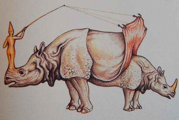 codex seraphinianus, rhinoceros, hooks