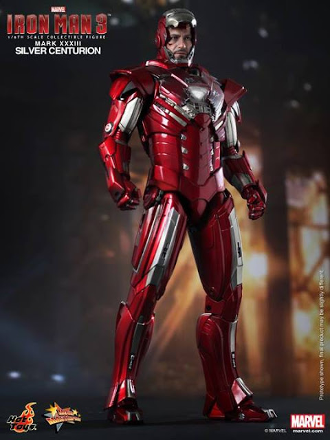 "Hot Toys 1/6 Scale Iron Man 3 12"" Iron Man Mark XXXIII Silver Centurion Armor Figure"