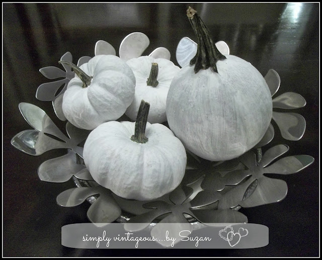 pumpkins, white paint, jewels, decor