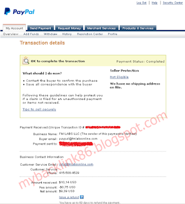 Proof of payment of Fidelity Media