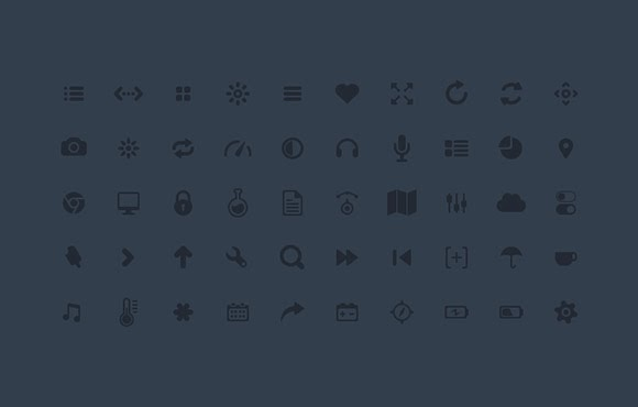 Mini dark media icons psd